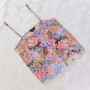 Topshop Floral Print Tank Top Cami w/ Lace
